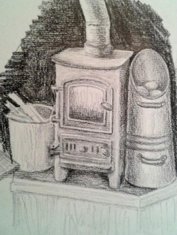 Boat Stove, pencil on paper (Christine Rigden)
