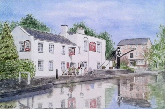 "Shroppie Fly at Audlem, watercolour, 12"" x 8"" (Christine Rigden)"