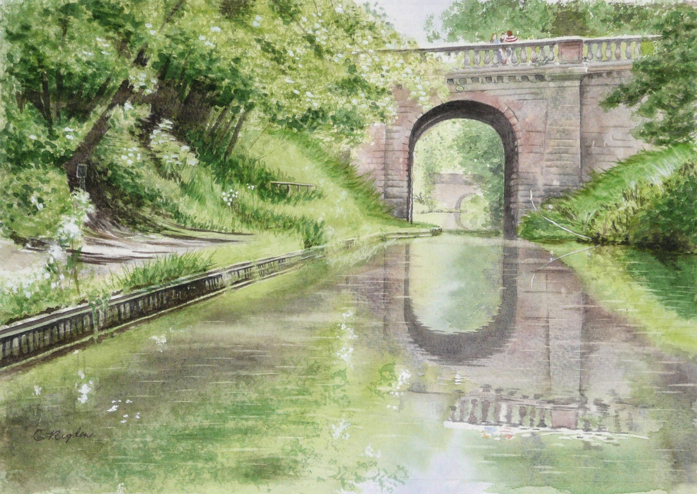 "Avenue Bridge on the Shroppie, watercolour, 12"" x 8"" (Christine Rigden)"
