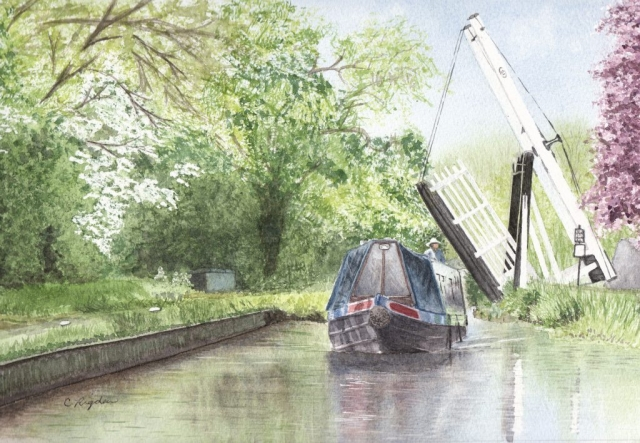 "Wrenbury Frith Lift Bridge, watercolour, 12"" x 8"" (Christine Rigden)"