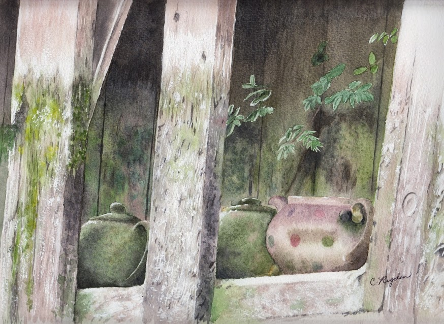 "Teapots at Torksey, watercolour, 12"" x 8"" (Christine Rigden)"
