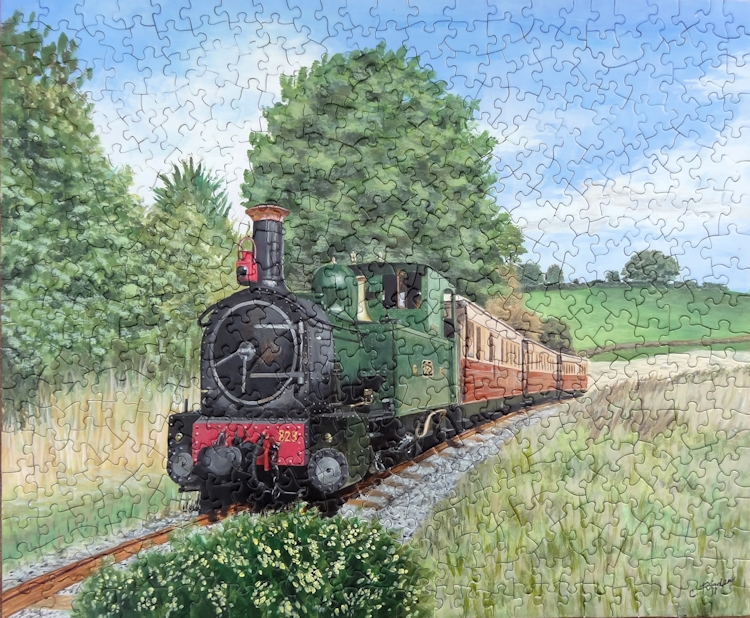 "Steam Train painted onto a Puzzle, acrylic, 20"" x 16"" (Christine Rigden)"