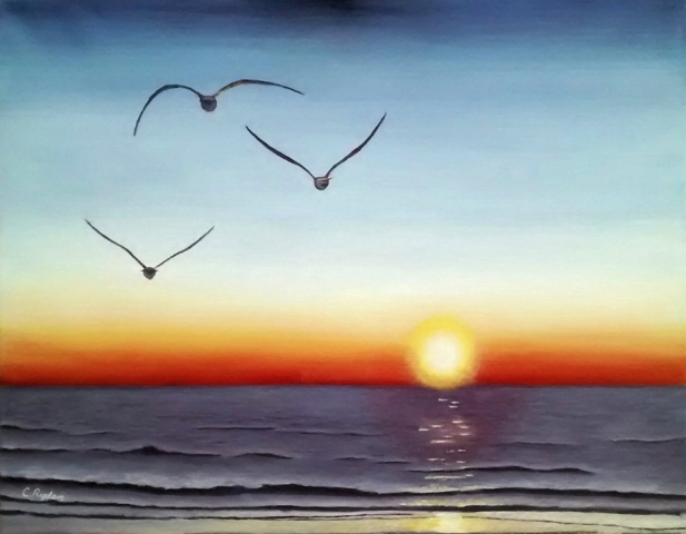 "Sunset at Sarasota, acrylic on board, 20"" x 16"" (Christine Rigden)"