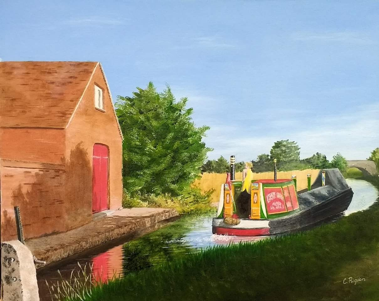 "Leaving Claydon Lock, acrylic on Board, 20"" x 16"" (Christine Rigden)"