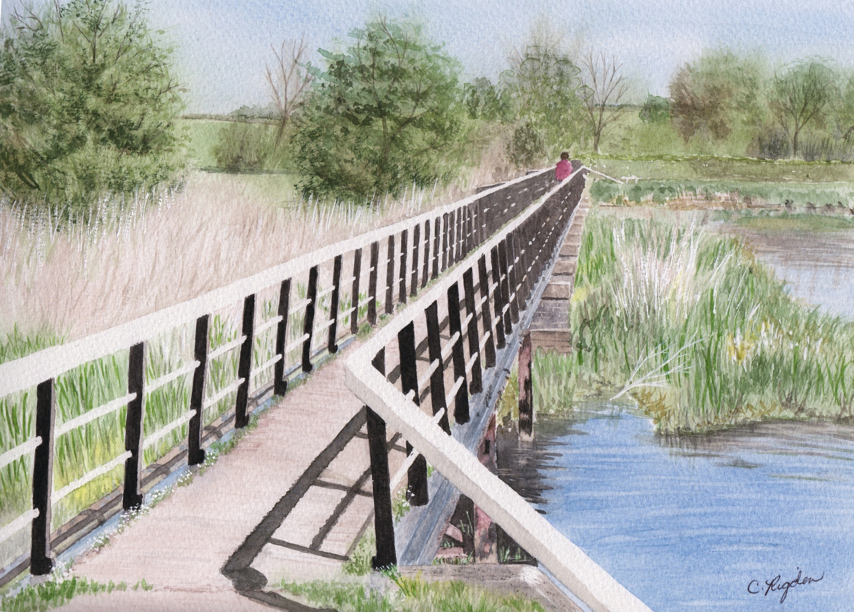 Alrewas Trent Footbridge, watercolour on paper