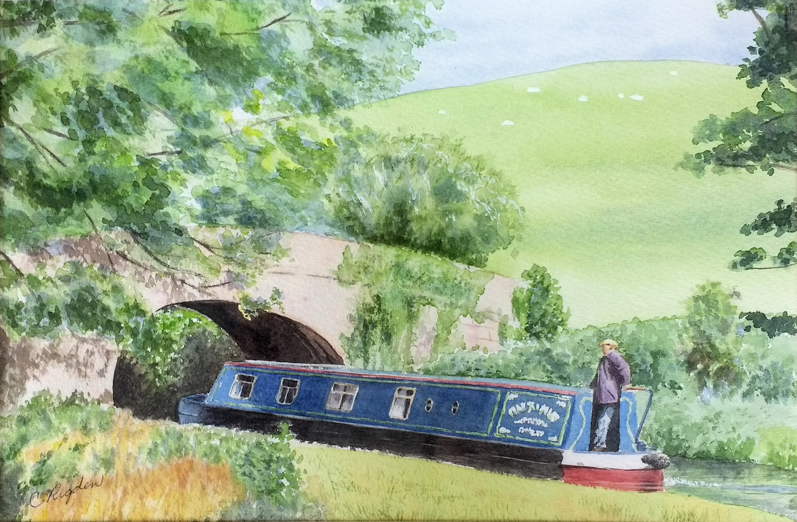 "On the Lancaster Canal, watercolour 8"" x 12"" (Christine Rigden)"