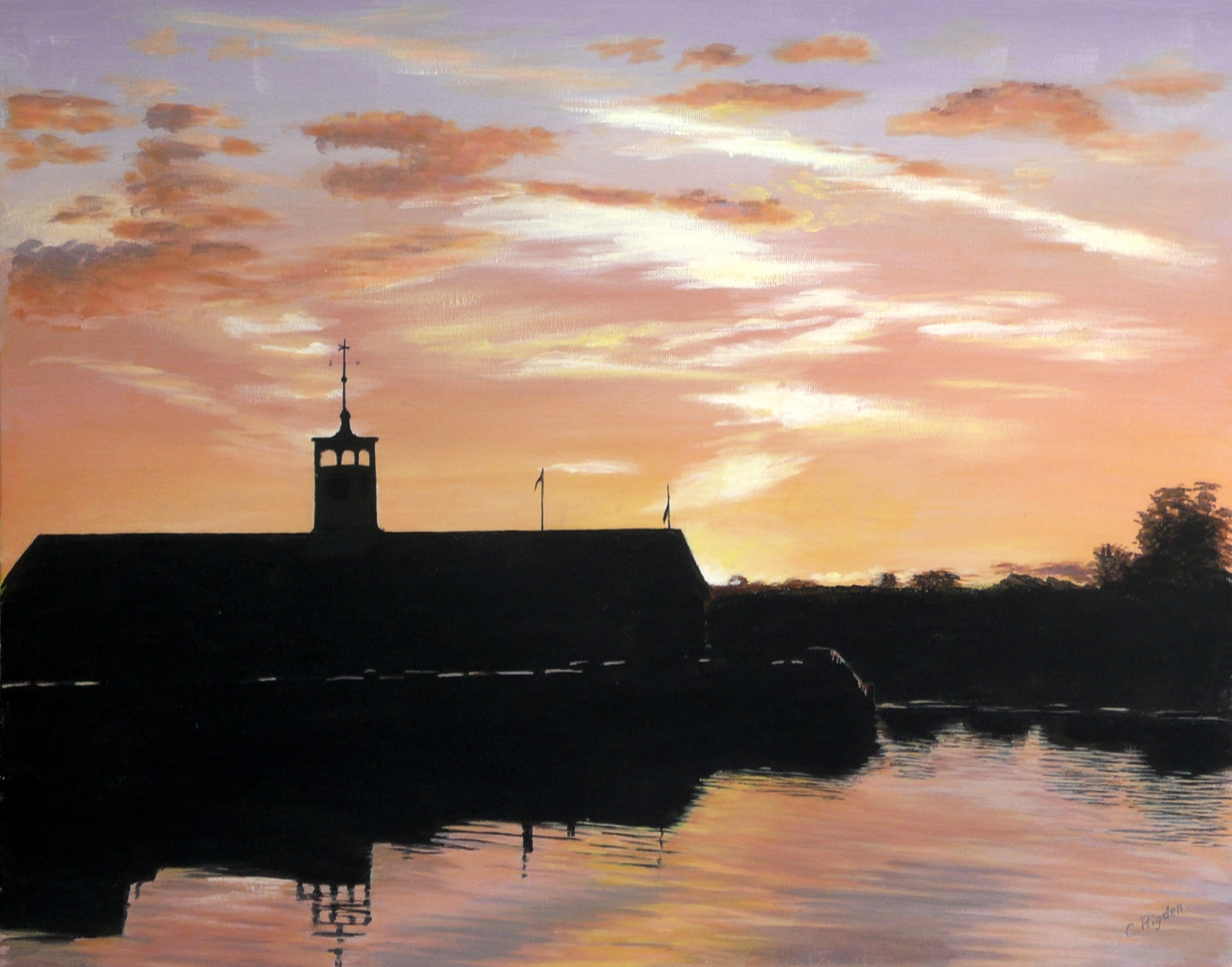 "Stourport Sunset, acrylic on board, 20"" x 16"" (Christine Rigden)"