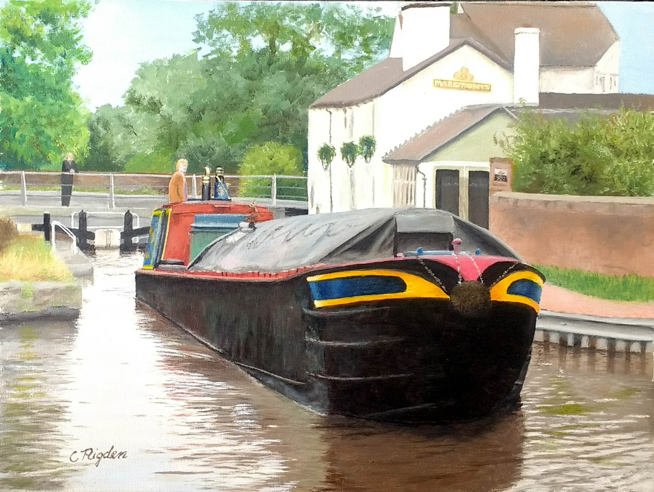"NB Lindsay at Star Lock (steered by Liz), acrylic on board, 14""x18"""