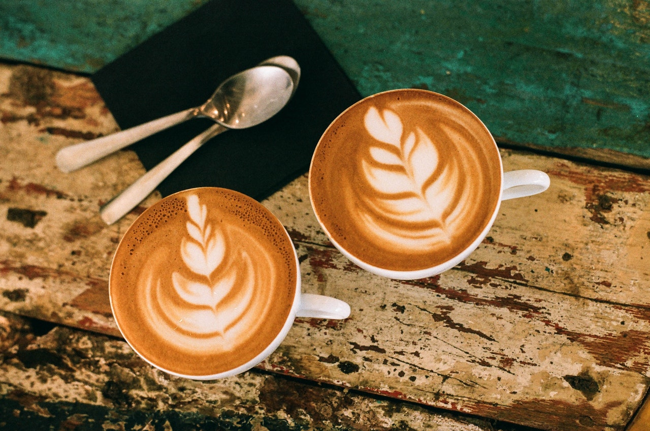 Two cups of latte