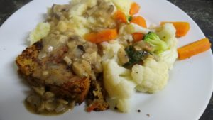 Lentil and Quinoa loaf with mushroom sauce