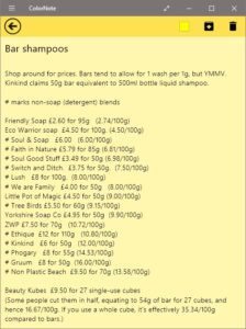 Prices of some bar shampoos, per 100g